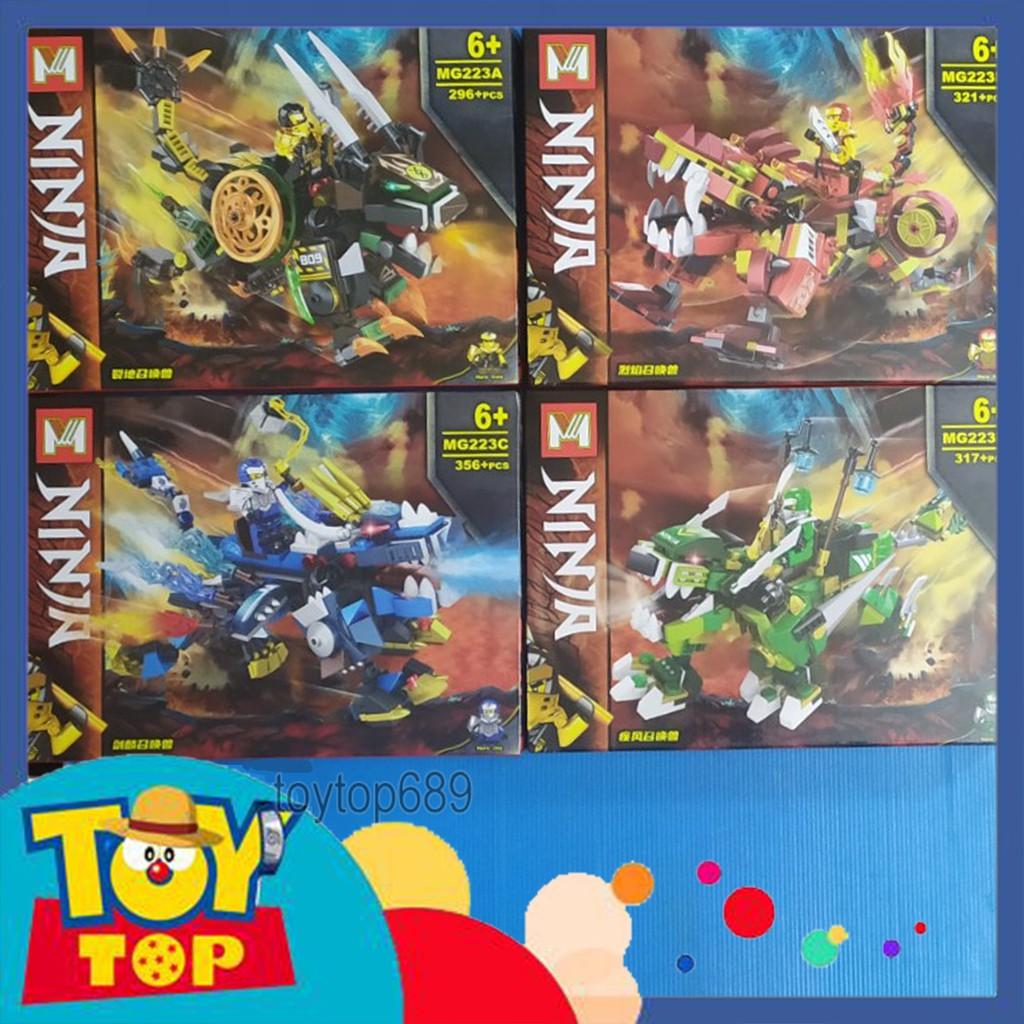 Một hộp] Non - lego ninjago - xếp hình ninja Season 13 Cole , Kai , Jay ,  Lloyd cưỡi rồng đất kỳ lân lắp ghép MG223