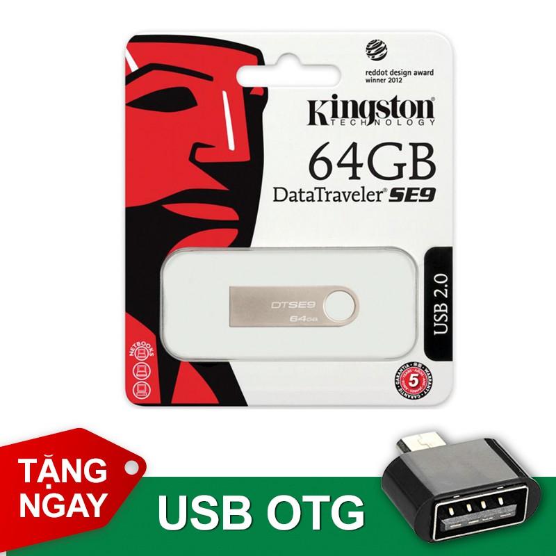 USB 64G KINGSTON SE9 Bảo hành 5 năm Tặng 01 USB OTG thông minh
