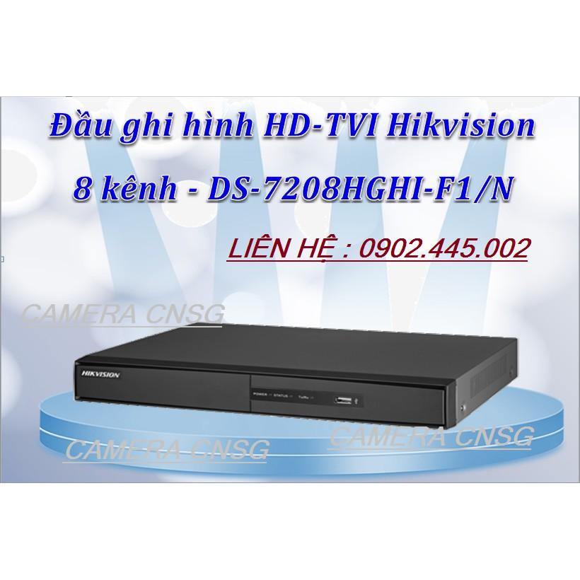 Đầu Ghi Hình Camera 8 kênh chuẩn H264+ Hỗ trợ add 2 Camera IP Hikvision DS-7208HGHI-F1/N (Thân sắt)