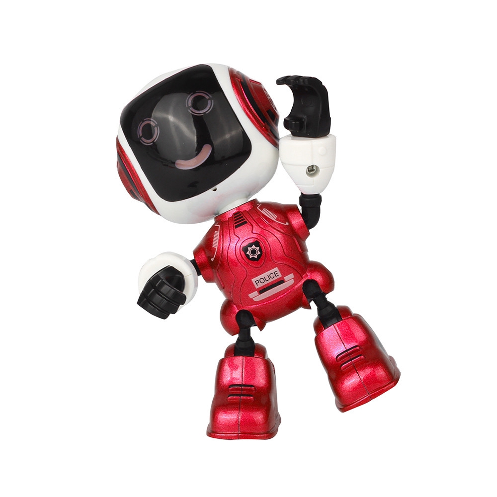 【COD】😺Electric LED Sound Intelligent Alloy Robot Toys Novelty Phone Stand