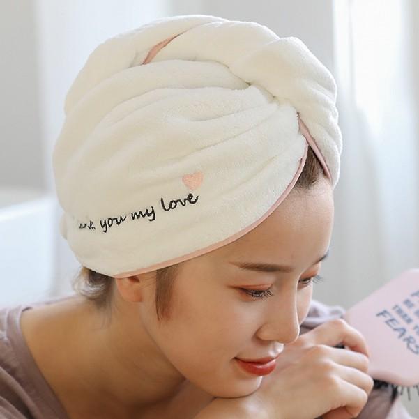 Mũ quấn ủ tóc nhanh khô thấm hút cute tặng kèm túi zip