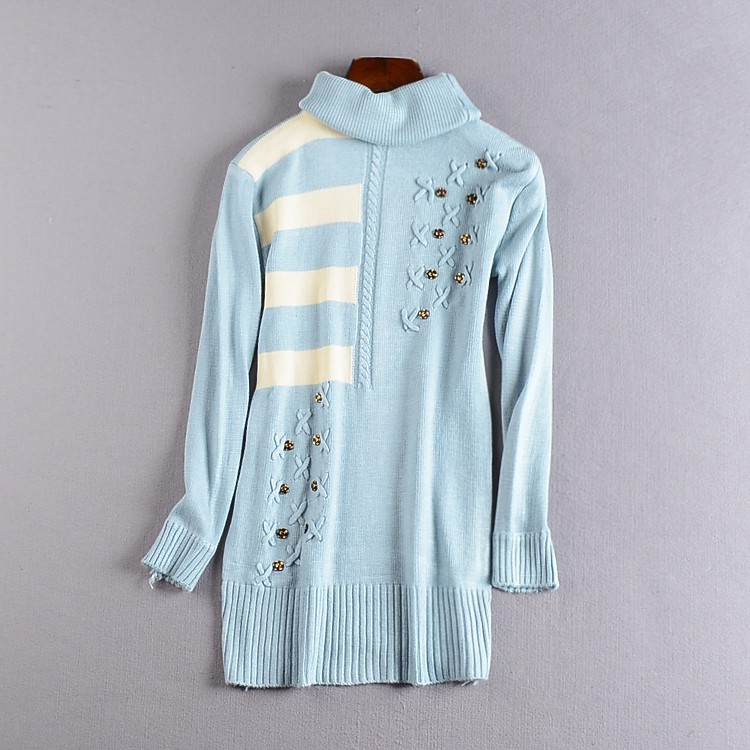 [直直 /] K@11 high collar long sleeve temperament thin wool sweater autumn pullove