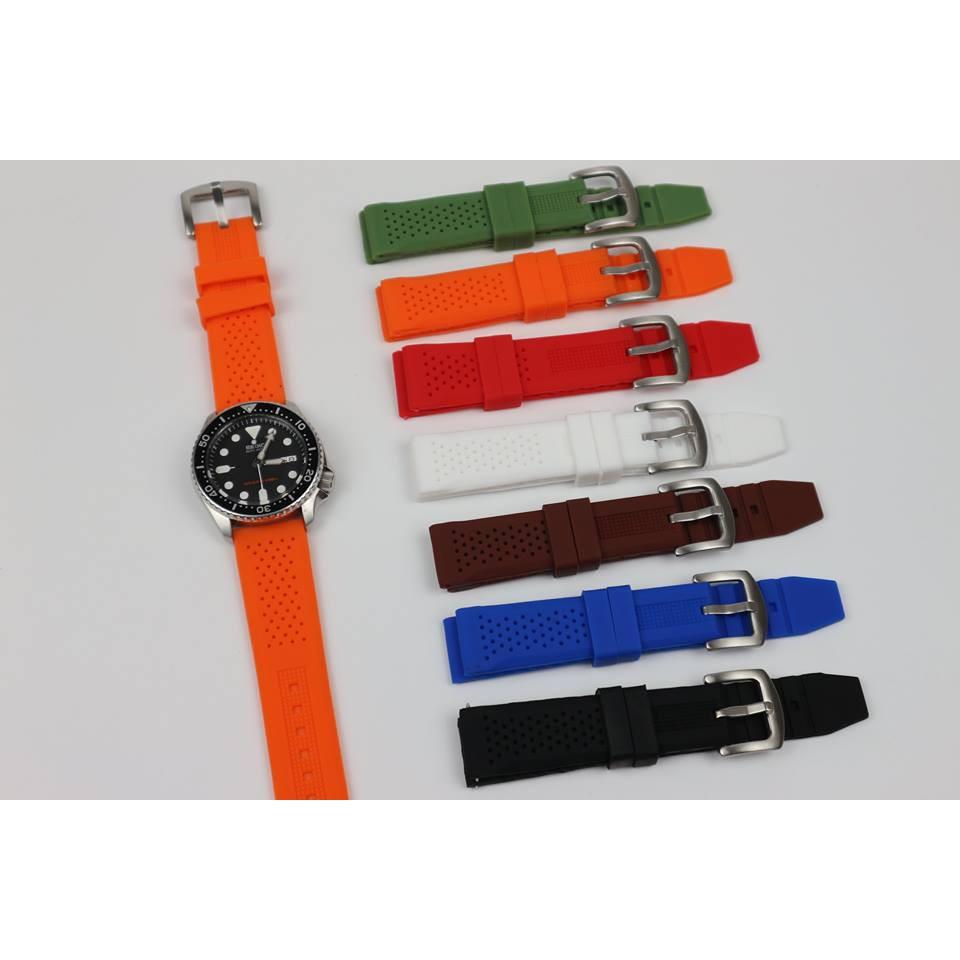 Dây cao su đồng hồ khóa gài nhiều màu