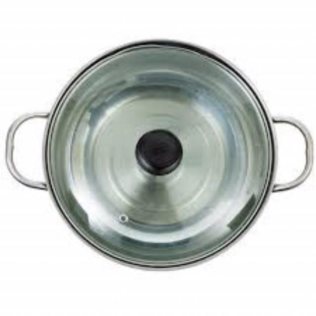 Nồi ăn lẩu inox nắp kính 28cm- dùng trên mọi loại bếp