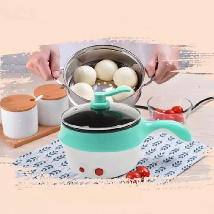 [ Ổ CẮM 2 CHẤU] Nồi lẩu điện mini 2 tầng đa năng chống dính 18cm Tặng xửng hấp, Ca nấu mì nấu lẩu