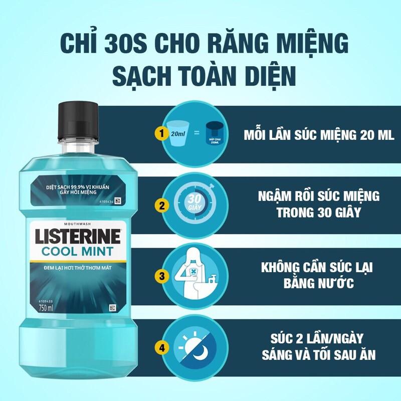 Nước súc miệng hơi thở thơm mát Listerine Cool Mint 750ml Tặng nước súc miệng Listerine Coolmint 250ml
