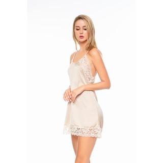 DREAMY VS05 Váy ngủ lụa cao cấp hai dây phối ren quyến rũ dáng suông thumbnail