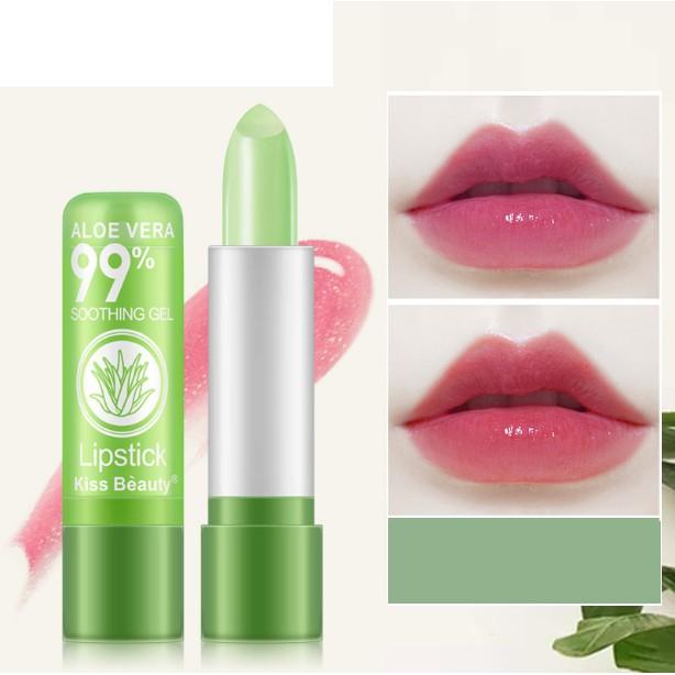 [RẺ VÔ ĐỊCH] Son dưỡng lô hội làm hồng môi đổi màu giữ ẩm rất đẹp KissBeauty
