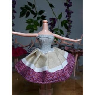 Quần áo búp bê Chibi 23-26cm: đầm ống caro/sọc