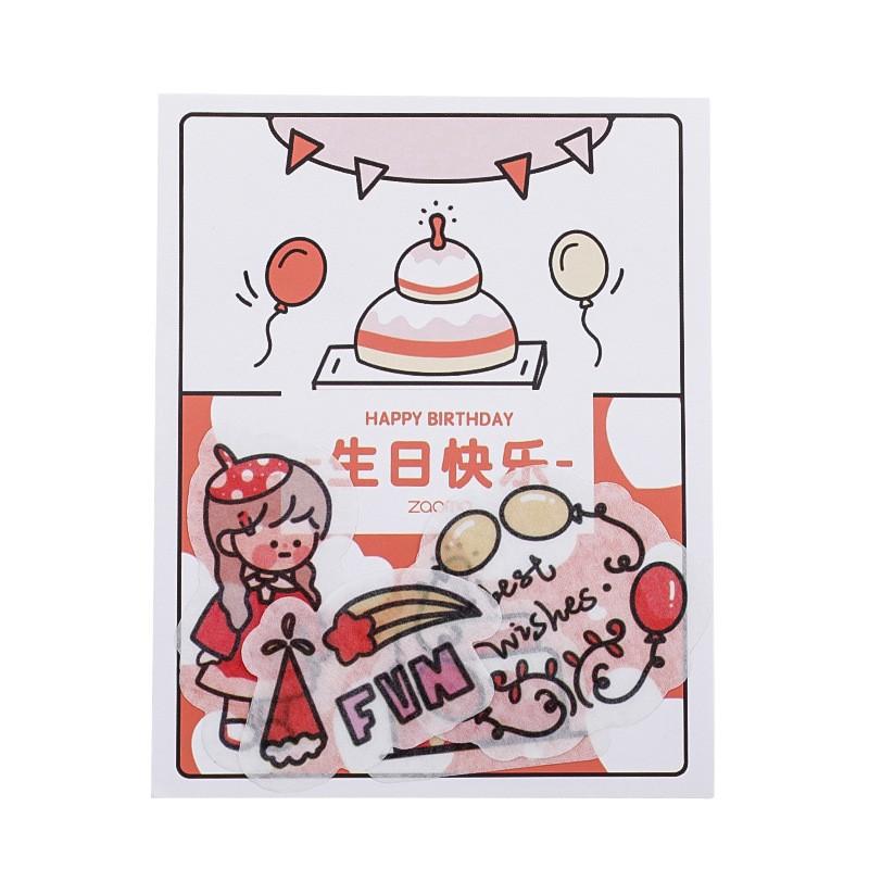 Bộ 40 miếng dán sticker decal lột dán trang trí sổ tay hình cute girl ver3 - VP034