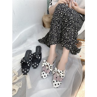 Square head wave point slippers women wear 2019 summer new Korean version of the wild flat bottom mesh lazy half drag Mu