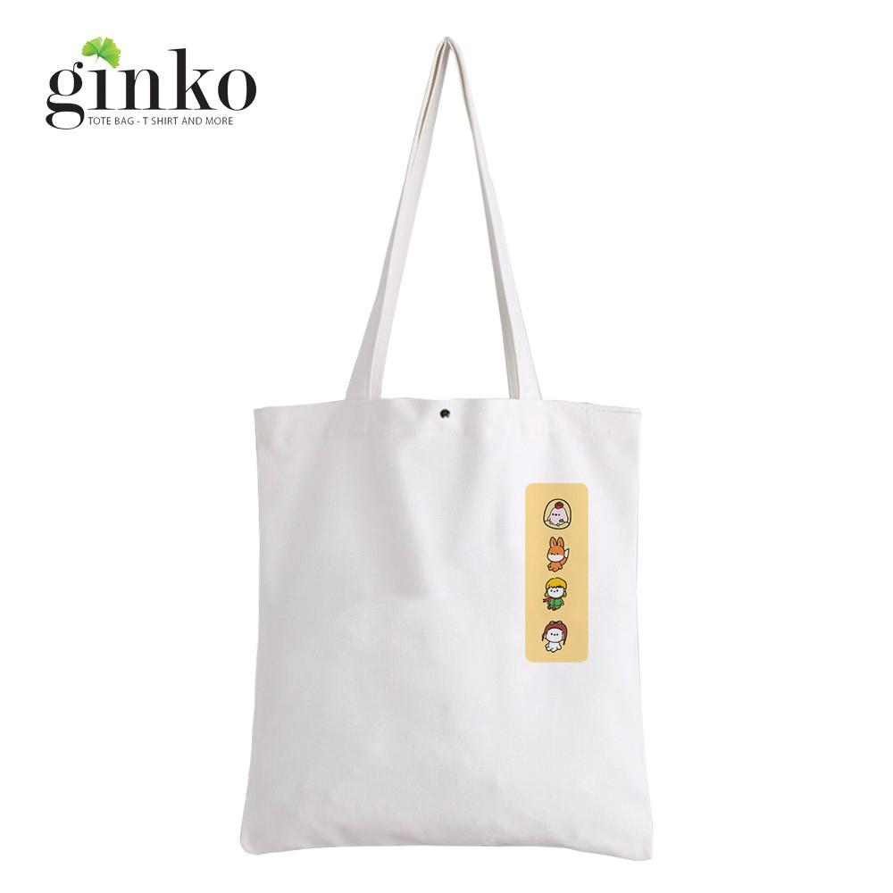 Túi Vải Tote GINKO Kiểu Basic Nút Bấm In Hình Cartoon G171