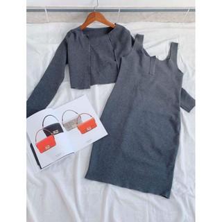 Set đầm body+áo khoác len