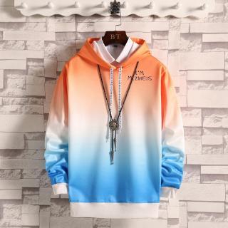 Áo hoodie tay dài màu gradient thời trang kiểu mới cho nam