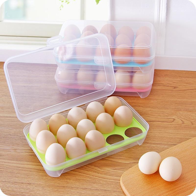 Hộp nhựa đựng trứng trong suốt 15 ô có nắp đậy - Tiện dụng dễ vệ sinh |  Shopee Việt Nam