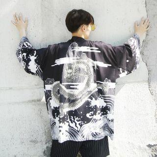 Áo Khoác Cardigan Nam Nữ dáng Kimono Haori Cá KOI Cá Chép màu đen trắng phong cách Nhật Bản Cosplay cho các tín đồ Anime