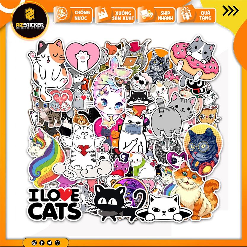 [Set 50+] Sticker Cat - Sticker Mèo | Dán Nón Bảo Hiêm, Điện Thoại, Laptop, Bình Nước...Chống Nước, Chống Bay Màu