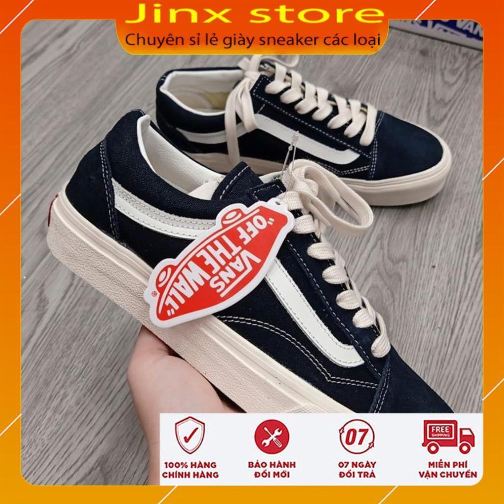 Giày thể thao van đen kẻ tráng nhung ni cao cấp - Jinx Store