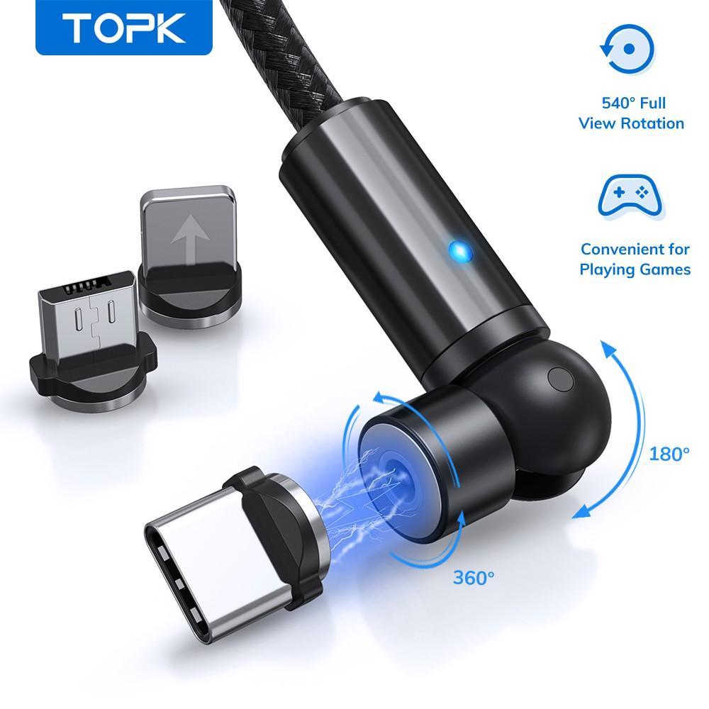 Cáp Sạc TOPK AM68 Với Cổng Kết Nối Từ Tính Có Thể Xoay 540° Dành Cho iPhone/ Micro/ USB/ 3 Trong 1