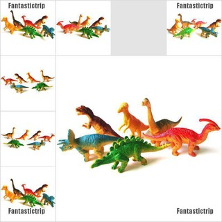 Fantastictrip 6pcs Large Assorted Dinosaurs Toy Plastic Figures Simulation Model Dinosaur