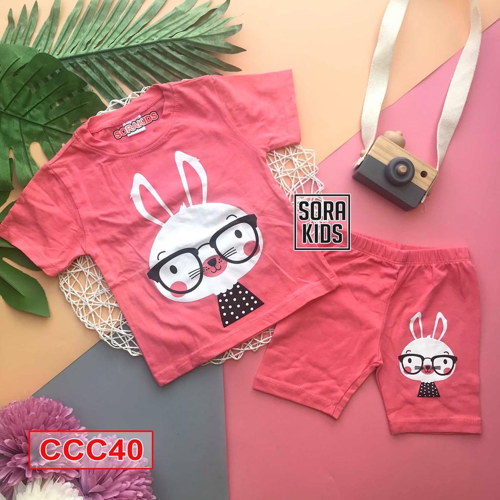 Bộ quần áo ngố hình in thú cho bé gái 2-10 Tuổi Sorakids size Từ 9-19 Kg