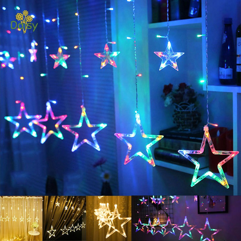 Star Shaped LED Lights String Curtain Window Bedroom Xmas Fairy Lamp Home Decor