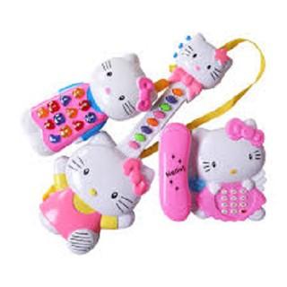 Đồ chơi đàn 3 món dùng pin phát nhạc, đồ chơi đàn helo kitty (kèm pin)