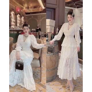 Đầm Maxi Ren Trắng Tay Dài Cổ V Nút, Đầm Dự Tiệc, Đi Biển, Chụp Ảnh (Ảnh Thật)