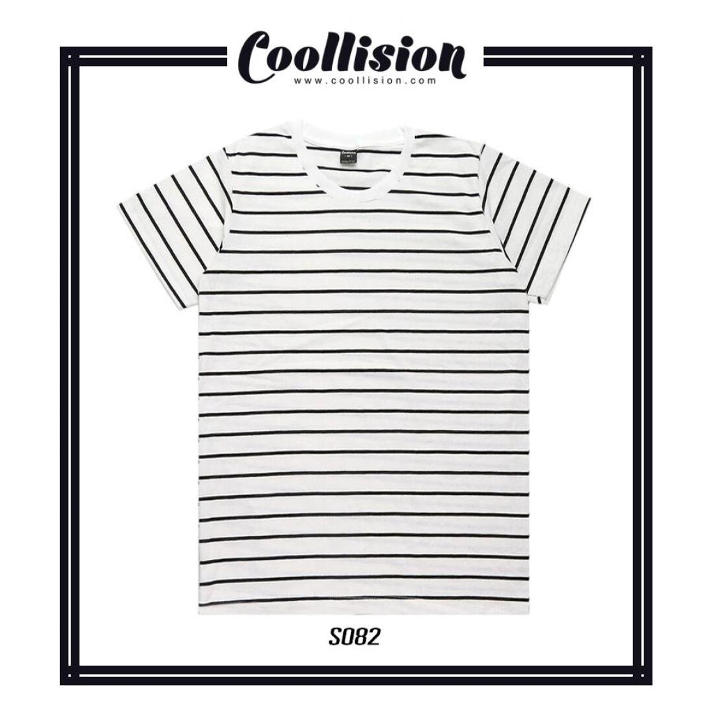 #Coollision เสื้อยืดแขนสั้นลายทาง พื้นขาวเส้นดำ คอขาวCoollision เสื้อยืดแขนสั้นลายทาง พื้นขาวเส้นดำ คอขาว