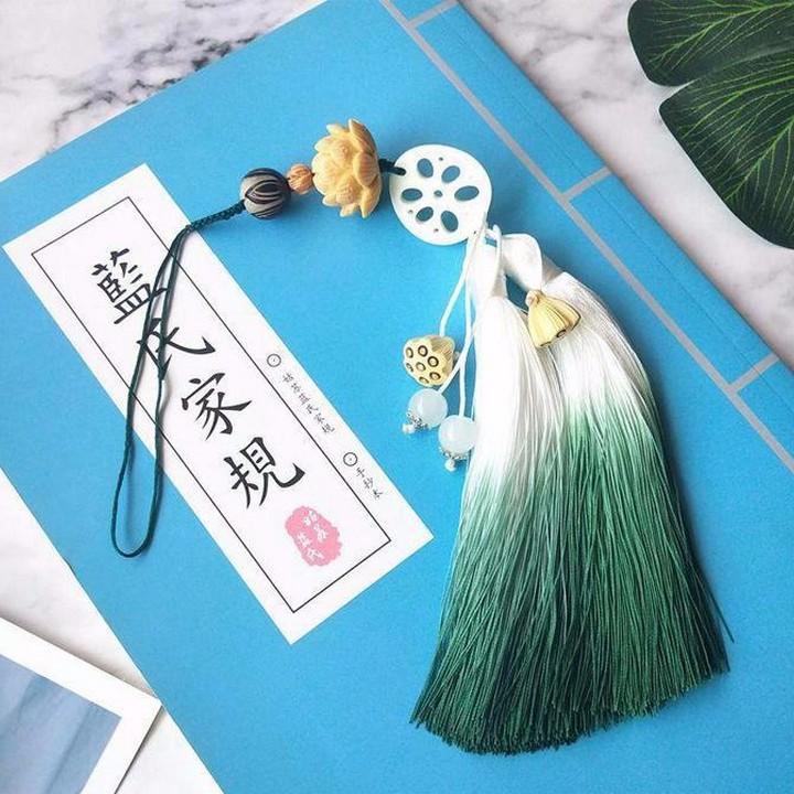 (250k) Ngọc Bội Ma đạo tổ sư Trần Tình Lệnh tua xanh móc khóa ngó sen hoa sen cổ trang Tiêu Chiến Vương Nhất Bác