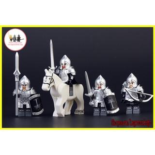 Minifigure quân đội lính Gordon trung cổ non Lego Lord of the Rings giáp bạc KT1015