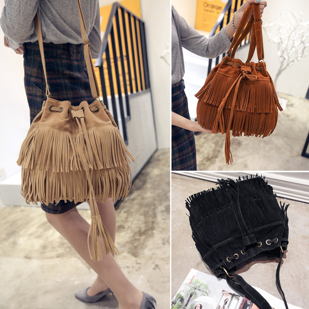 Women Handbag  Shoulder Bag Faux Suede Tassel Messenger Tote Bags Satchel