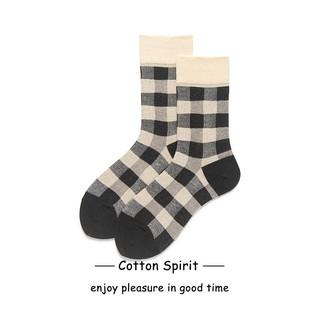 Tất cổ cao Nam Nữ Sọc Caro Retro Phong cách Hàn Quốc Vớ Cổ cao Nam Nữ Unisex Cotton Cao cấp Nhật Bản thumbnail