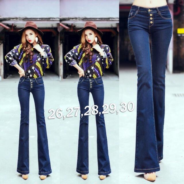 Quần jeans loe xanh đậm 4 nút 03818