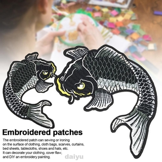 2pcs DIY Fabric Badge Painting Decoration Crafts Fish Iron Sew On Koi Carp For Clothing Embroidered Patch