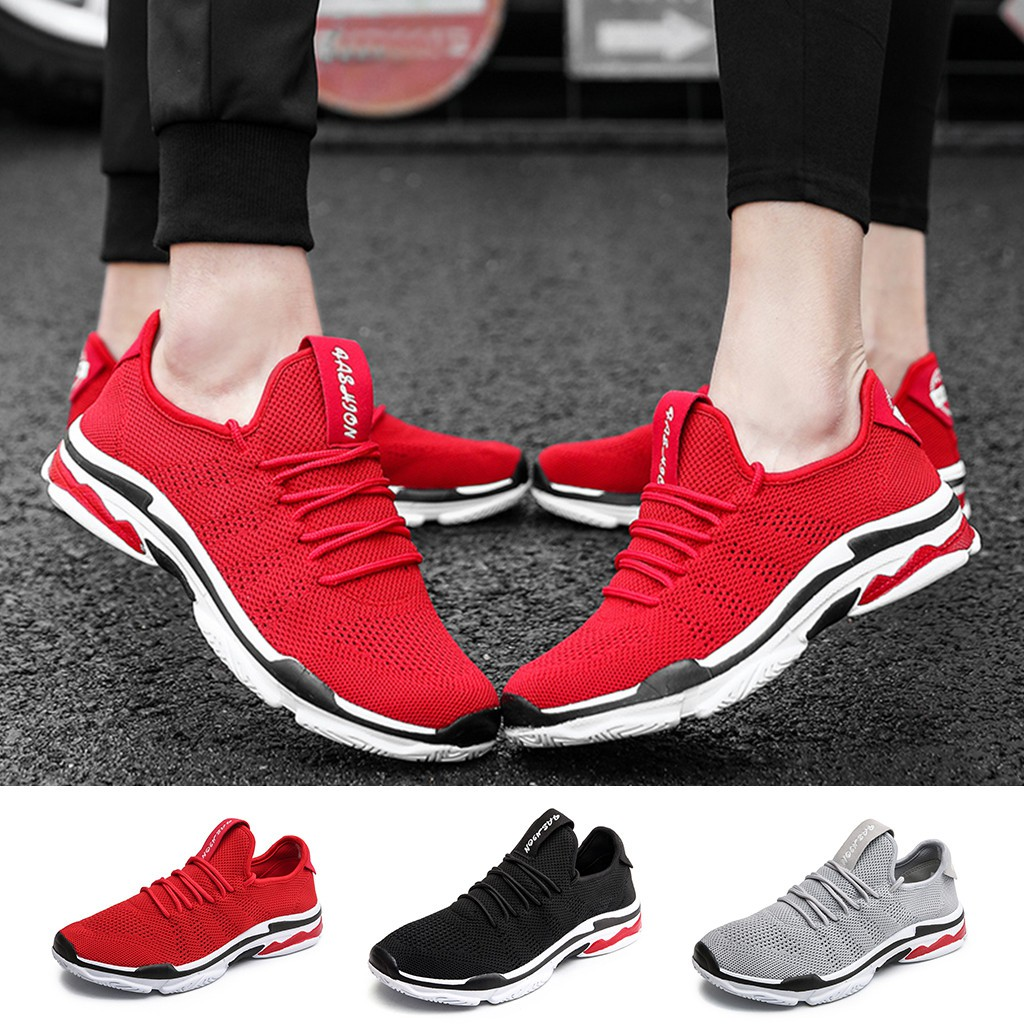 Mens Womens Casual Shoes Mesh Breathable Durable Running Outdoor Lace-Up Sneaker