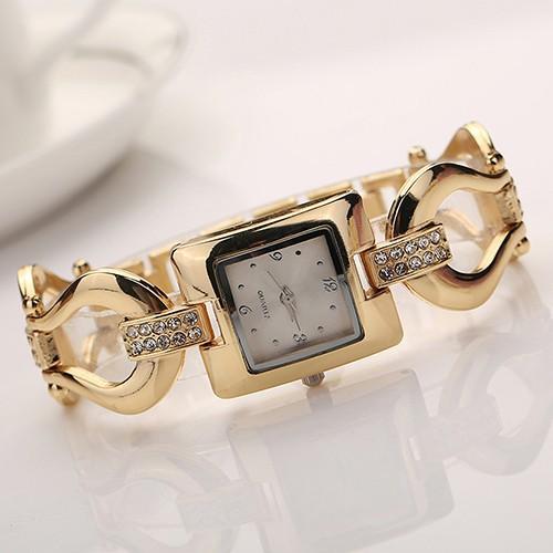 Đồng hồ mặt vuông mạ vàng đính đá sang trọng cho nữ