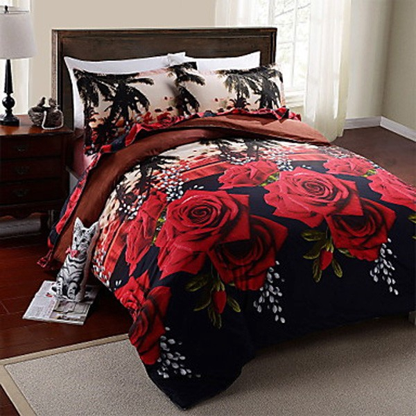 COD 4pcs Polyester Fiber Black 3D Red Rose Duvet Cover Pillowcase Quilt Bedding Set