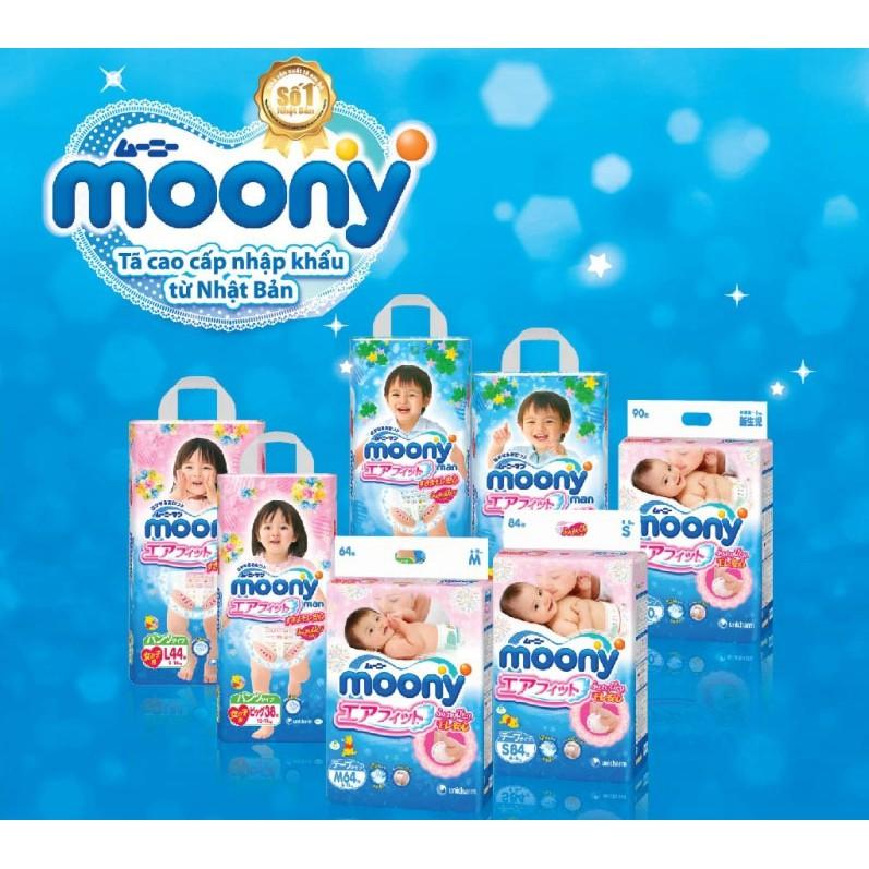 (Tặng khăn tắm)Tã dán/Tã quần Moony đủ size NB90, S84, M64, L54, M58, L44 boy, L44 girl, XL38 boy, X