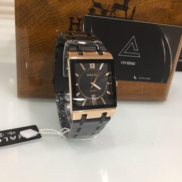 Đồng hồ nam Halei mặt vuông đen viền vàng chính hãng chống nước