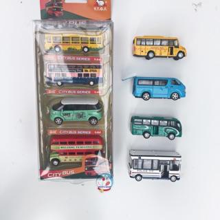 [Mã TOYDEC giảm 10% tối đa 15K đơn từ 50K] Set 4 chiếc ô tô buýt trường học bằng sắt, mở cánh, tỉ lệ 1:64, bánh đà