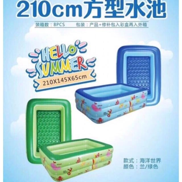 Bể bơi kt 210x145x65cm đáy 2 lớp bơm hơi dày dặn