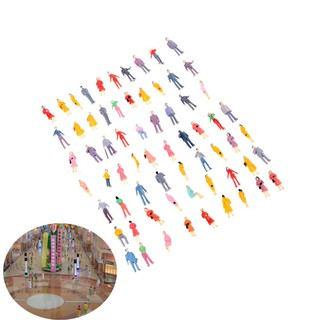 100Pcs Mini HO Scale 1:100 Painted Model People Mix Painted Model Figures