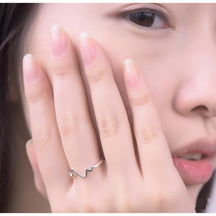 Nhẫn bạc nhịp tim Hàn Quốc