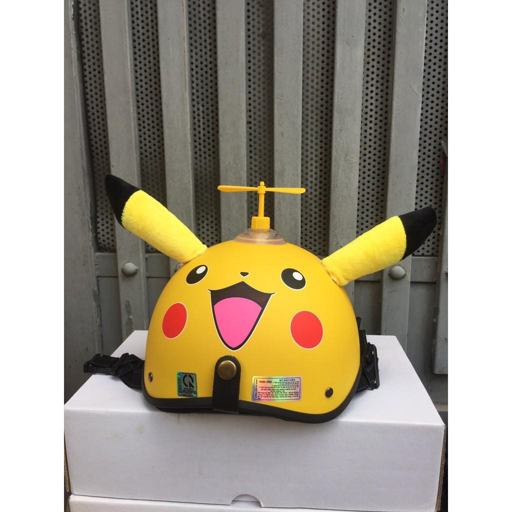 Mũ Bảo Hiểm Nửa Đầu 1/2 Pikachu Có Tai + Chong Chóng + Kính Phi Công – Nón Nhựa ABS Độ Bền Cao, BH 6 Sử Dụng