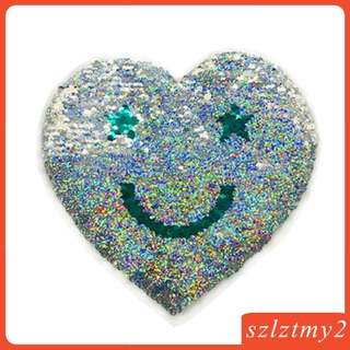 [galendale] Love Heart - Sequin Sew On Applique Change Color Patch Embroidered Crafts