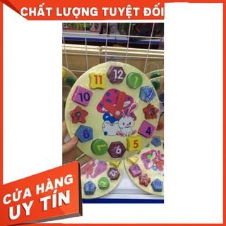 HCM- Đồng Hồ Bằng Gỗ♥FREESHIP♥ Đồng Hồ Số Hình Khối Giúp Bé Phân Biệt Hình Khối, Màu Sắc