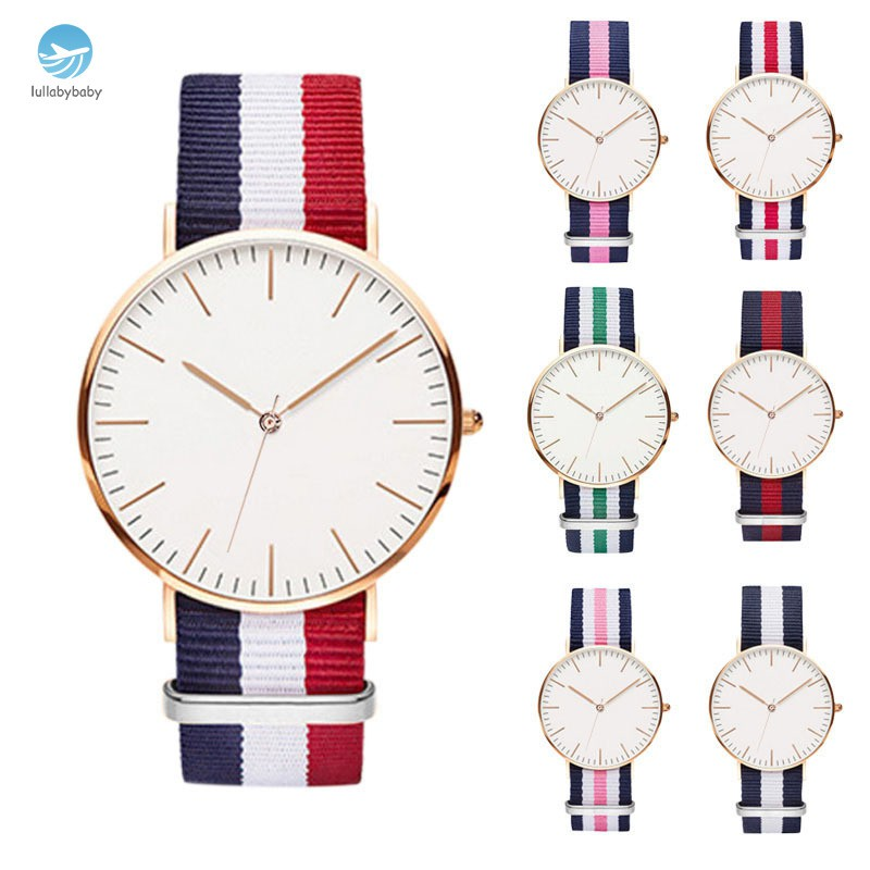 Simple Men Women Watches Nylon Strap Clock Dial Analog Quartz Watch Lovers Couple Casual Wristwatch