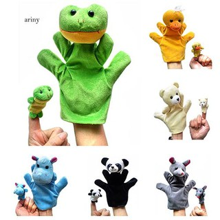 ♞2PCS Lovely Kid Baby Plush Toy Finger Puppet Talking Props Animals Hand Puppets