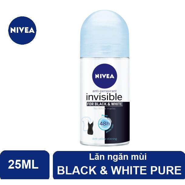 Lăn ngăn mùi Nivea Invisible Pure for Black & White giảm vệt ố vàng trên áo - thanh mát dịu nhẹ (25m